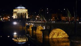 Turin by night. Turin cityscape. City by night stock video
