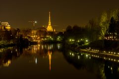 Panorama of turin with mole antonelliana at night royalty free stock image