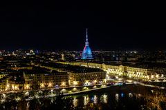 Turin by night. A panoramic vision of Turin by Night stock photo