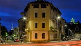 Turin, night scene with both the Mole Antonelliana Stock Image