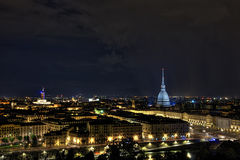 Turin by night. Turin seen from the hill by night stock photo