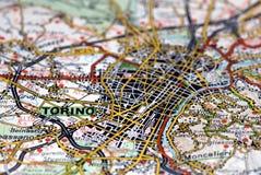 Turin no mapa - Italy Fotos de Stock
