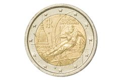 Turin Olympics two euro. Italian coin of two euro closeup with commemorative issue symbol of Torino Olympics in Turin, Italy. Isolated on white studio background Royalty Free Stock Image
