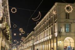 Turin på natten Arkivfoto