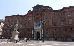 Turin Palazzo Carignano, Carignano slott Arkivfoto