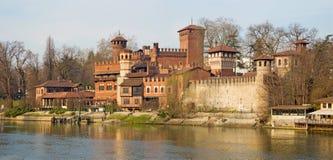 Turin - The panorama of Borgo Medievale castle Royalty Free Stock Photo