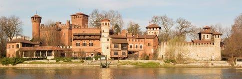 Turin - The panorama of Borgo Medievale castle Stock Photos