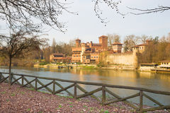 Turin - The panorama of Borgo Medievale castle Royalty Free Stock Photography
