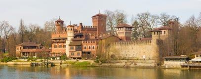 Turin - The panorama of Borgo Medievale castle Stock Image