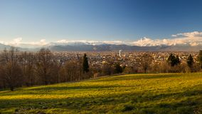 Turin panoramic cityscape from above at sunset Stock Photography