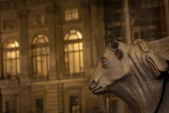 Turin Piedmont, Italien: nattsikt av tjurhuvuddetaljen i källaren av en gatalampa med i bakgrund Palazzo Madama in royaltyfri fotografi