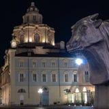 Turin piedmont, Italien vid natt arkivfoto