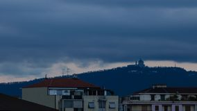 The Basilica of Superga. Turin, Piedmont, Italy. April 10 2018. On a spring day, with new rainfall, the approach of twilight on the Basilica of Superga. Time stock video footage