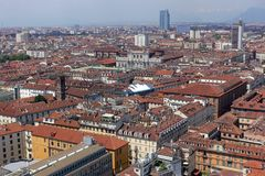 Turin City view from above. Turin Piedmont Italy Turin is the capital of Piedmont and is known for the refinement of its architecture and its cuisine. The Alps royalty free stock photo