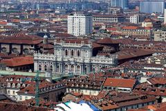Turin City view from above. Turin Piedmont Italy Turin is the capital of Piedmont and is known for the refinement of its architecture and its cuisine. The Alps stock image