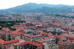 Turin City view from above. Turin Piedmont Italy Turin is the capital of Piedmont and is known for the refinement of its architecture and its cuisine. The Alps stock images