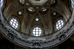 Turin, Piedmont, Italy - Detail of dome interior of Saint Lawrence`s church - Royal church Royalty Free Stock Photography
