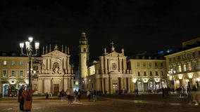 Piazza San Carlo, night. One of the most beautiful squares in Turin. Turin, Piedmont Italy. May 12 2018. Piazza San Carlo, night. One of the most beautiful stock video footage