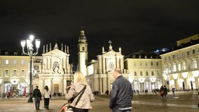 Piazza San Carlo, night. One of the most beautiful squares in Turin. Turin, Piedmont Italy. May 12 2018. Piazza San Carlo, night. One of the most beautiful stock footage