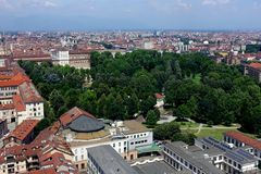 Turin City view from above. Turin Piedmont Italy Turin is the capital of Piedmont and is known for the refinement of its architecture and its cuisine. The Alps stock photo