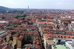 Turin City view from above. Turin Piedmont Italy Turin is the capital of Piedmont and is known for the refinement of its architecture and its cuisine. The Alps royalty free stock images
