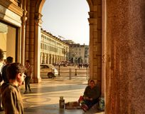 Turin, beggars and tramp royalty free stock image