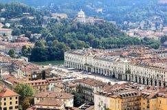 Turin-, PO-Fluss und Marktplatz Vittorio Veneto, Italien Stockfotografie