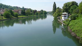 Turin Po river. Turin, view from one of the bridges crossing the Po river Stock Photos