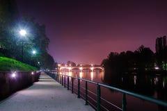 Turin Ponte Isabella and river Po at night. royalty free stock photo