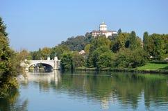 Turin river Po. Banks and bridge Royalty Free Stock Photography