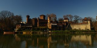 Turin, river Po, view of medieval castle. Stock Images