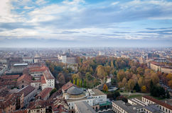 Turin scenic skyline view on Royal Gardens Stock Photo