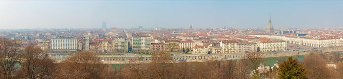 Turin - The skyline of the city. With the Po river Royalty Free Stock Photography