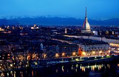Turin skyline at dusk. Turin skyline from Monte dei Cappuccini, at dusk, with Christmas artistic lights in Turin, Italy stock photos