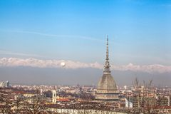 Turin skyline with Mole Antonelliana and the Alps royalty free stock photography