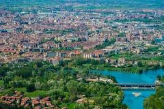 Turin skyline from superga hill, Piedmont, Italy stock photos