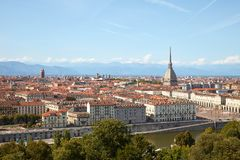Turin skyline view, Mole Antonelliana tower and Po river in a sunny day in Italy. Turin skyline view, Mole Antonelliana tower and Po river in a sunny summer day royalty free stock photo