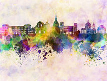 Turin skyline in watercolor background Royalty Free Stock Image