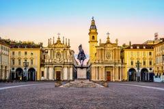 Turin stad, piazza San Carlo på soluppgång, Italien royaltyfri bild