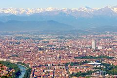 Turin Torino, aerial panorama, landscape of the city and Alps in wintertime, Italy. royalty free stock image