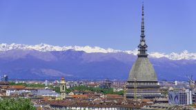 Turin, Torino, aerial timelapse skyline panorama with Mole Antonelliana, Monte dei Cappuccini and the Alps in the background. Turin Torino aerial timelapse stock photos
