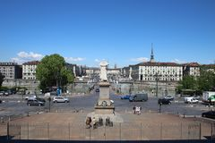 Panoramic view of Piazza Vittorio Veneto and Mole Antonelliana taken from the Gran Madre di Dio, Turin, Italy. royalty free stock image
