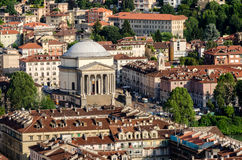 Turin (Torino), Basilica of Gran Madre. Turin (Torino), panorama on the hills and Piazza Vittorio Stock Images