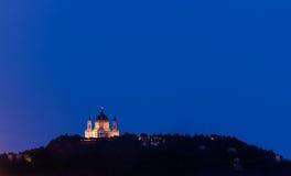 Turin (Torino), Basilica of Superga at blue hour. Close up Stock Photo