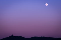 Turin (Torino), Basilica of Superga and moon Stock Photo