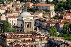 Turin (Torino), basilika av Gran Madre Arkivbilder