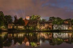 Turin (Torino), Borgo Medievale at night Stock Photo