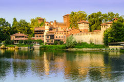 Turin (Torino), Borgo Medievale. And river Po at sunrise Stock Image
