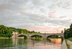 Turin (Torino), Bridge Umberto I and river Po Royalty Free Stock Image