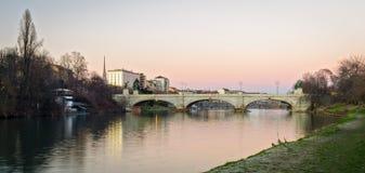 Turin (Torino), flod Po Fotografering för Bildbyråer